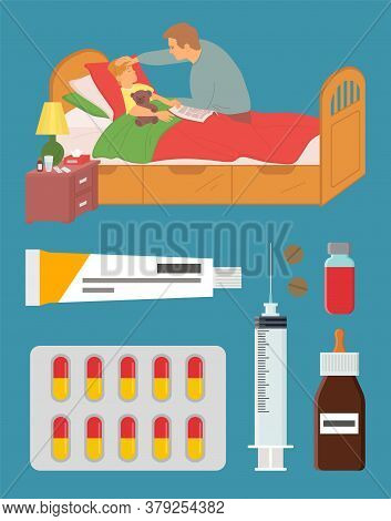 Father Caring For Ill Kiddo Vector, Son And Daddy, Child Laying With Plush Bear Toy, Ointment And Bl