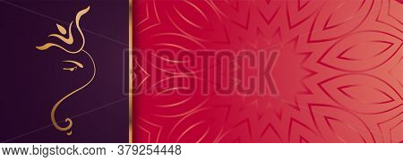 Premium Golden Lord Ganesha Design Banner With Text Space