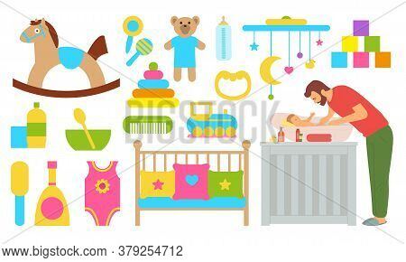 Man Caring For Newborn Baby Vector, Isolated Set Of Toys Hose And Plush Bear, Bowl And Spoon, Cone A