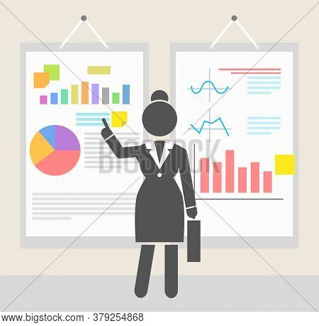Businesswoman Show Presentation Of Finacial Plan Or Strategy Plan At Hanging Boards With Graphics, D