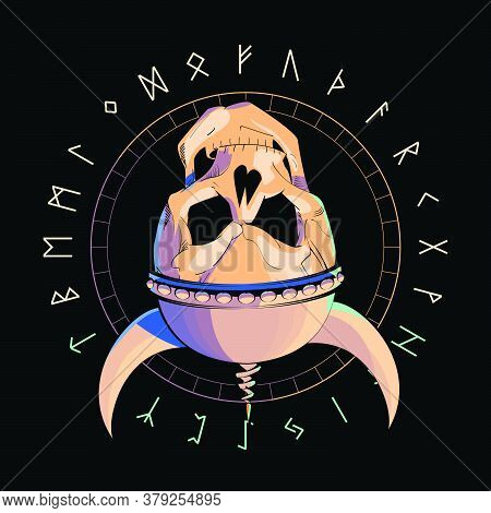Vector Illustration Of A Skull With A Helmet Turned Upside Down Over An Inverted Star And Runic Char