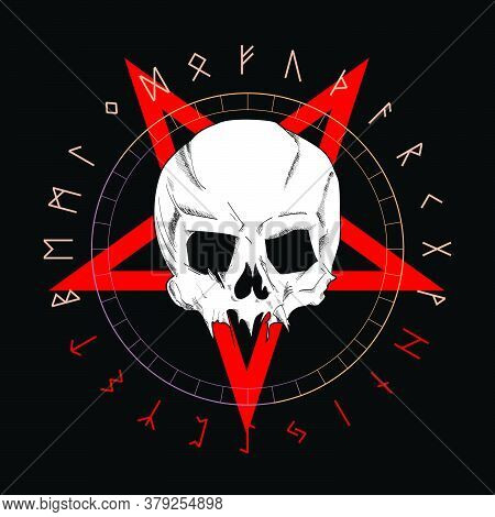 T-shirt Vector Design Of A White Skull Over An Red Inverted Star And Runic Characters Isolated On Bl