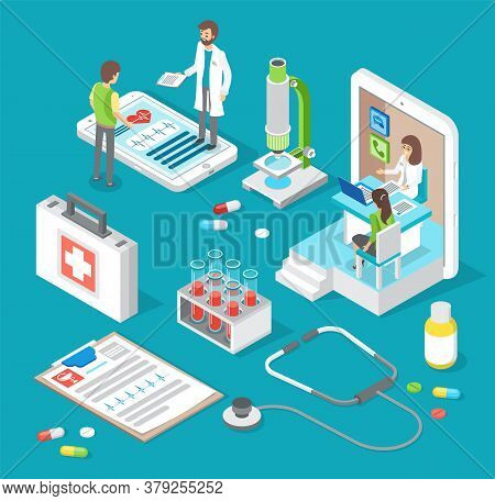 Health And Medical Consultation Application. Online Medical Consultation With Doctor And Medical Wor