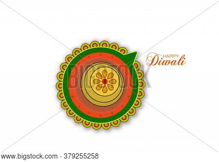 Vector Illustration Of Diwali Festival With Stylish Beautiful Oil Lamp. Green Diwali Theme Design.