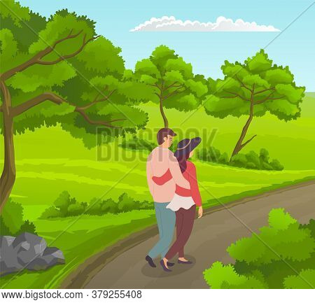 Happy In Love Couple Walking At Road Near Green Wood With Trees, Bushes. People Walking At Nature Hu