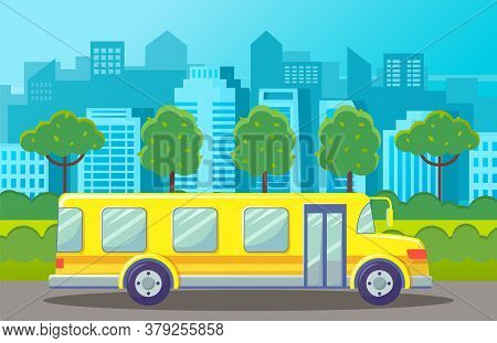 Yellow Bus At Road At City Background With Silhouettes Of Urban Buildings, Architecture. Urban Trans