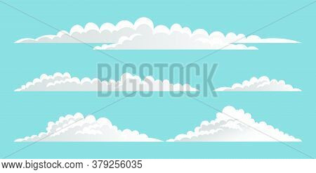 Vector Collection Of White Clouds At Blue Sky. Cartoon Clouds With Different Sizes And Forms. Clouds