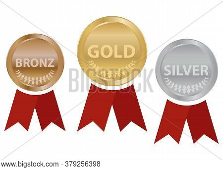 Sports Medals With Ribbons, Gold, Silver And Bronze Sports Medal. Vector Illustration. Vector.