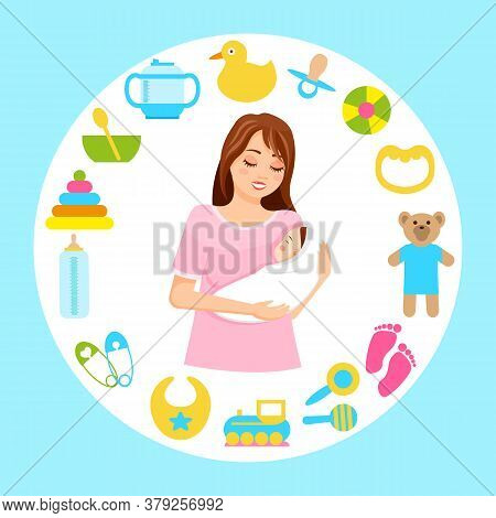Mother Holds Newborn Baby In Her Arms, Surrounded By Items Of Children S Toys, Dishes. Baby Supplies