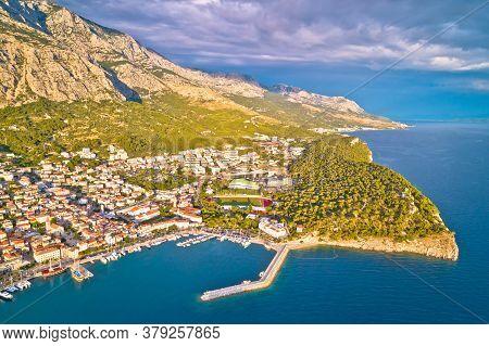 Makarska. Aerial View Of Nugal In Town Of Makarska And Biokovo Mountain. Dalmatia Region Of Croatia