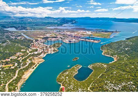 Aerial View Of Ploce, Harbor Town In Neretva Valley, Dalmatia Region Of Croatia