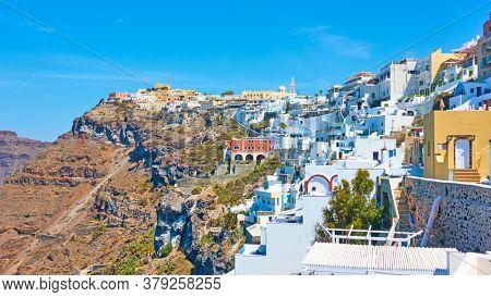 Panorama of of Fira town in Santorini Island, Greece. Greek scenery