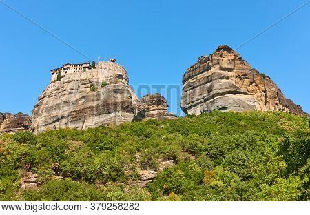 Rocks of Meteora with Monastery of Varlaam, Greece. Greek landscape