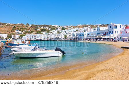 Old port and waterfront in Chora town in Mykonos island, Greece