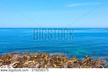 View of the sea with clear blue sky, coast of Crete island, Greece