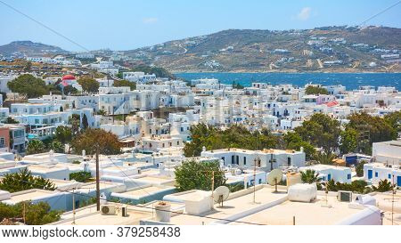 Panoramic view of Mykonos (Chora) town in Mykonos island, Greece