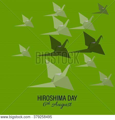 Vector Illustration Bird Paper Crane, Bird Paper Craft For Hiroshima Remembrance Day Minimal Style C