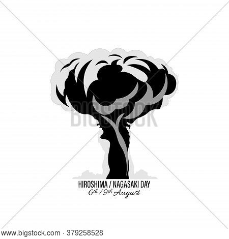 Nuclear Explosion Vector Illustration Isolated On White Background. International Day Against Nuclea