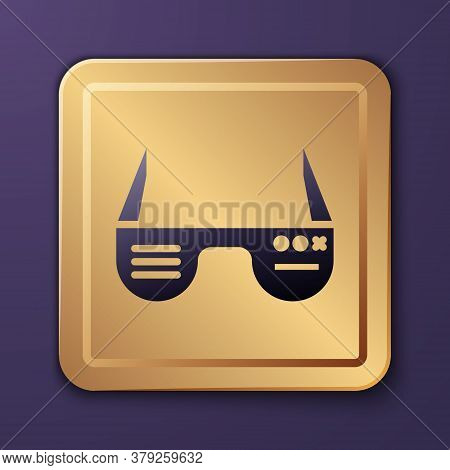 Purple Smart Glasses Mounted On Spectacles Icon Isolated On Purple Background. Wearable Electronics