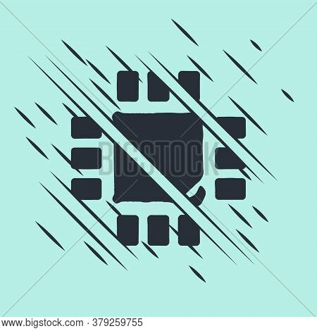 Black Computer Processor With Microcircuits Cpu Icon Isolated On Green Background. Chip Or Cpu With