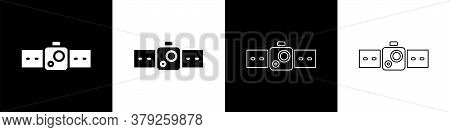 Set Smartwatch Icon Isolated On Black And White Background. Vector Illustration