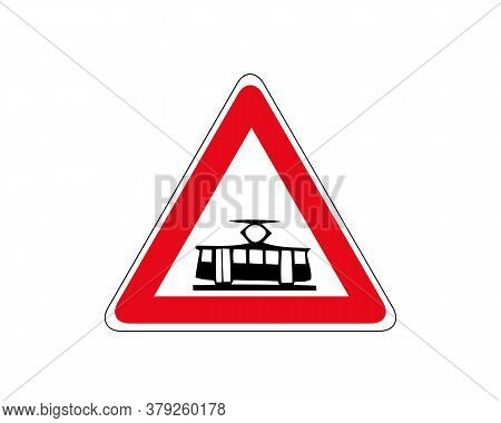 Illustration Of Triangle Warning Sign Of Crossing With A Tram Line