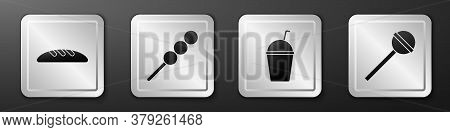 Set Bread Loaf, Meatballs On Wooden Stick, Milkshake And Lollipop Icon. Silver Square Button. Vector
