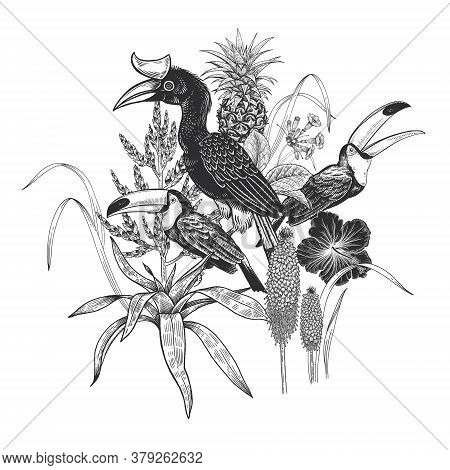 Black And White Floral Pattern. Tropical Birds Toucans, Leaves, Pineapple, Flowers Hibiscus Isolated