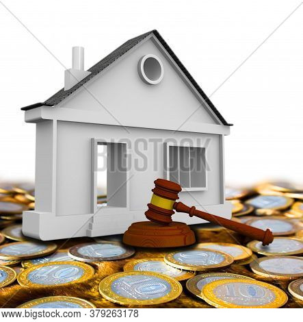 Judicial Practice In Real Estate. Judge's Hammer And The Apartment House On Surface Of Russian Coins