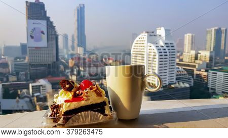 Thailand, Bangkok, January, 2020 - Breakfast On The Balcony Of The Lebua Hotel Overlooking Bangkok A