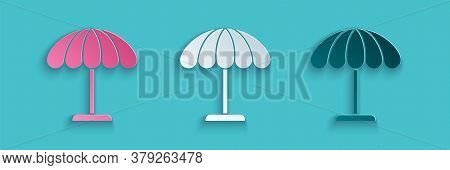 Paper Cut Sun Protective Umbrella For Beach Icon Isolated On Blue Background. Large Parasol For Outd