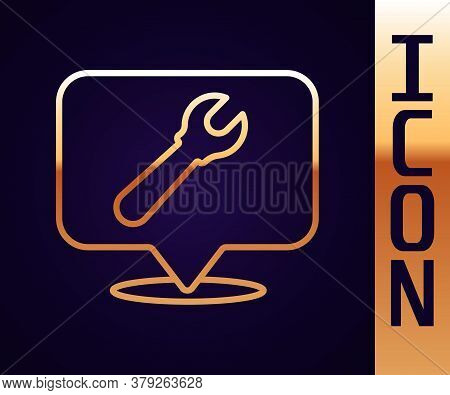 Gold Line Location With Wrench Spanner Icon Isolated On Black Background. Adjusting, Service, Settin