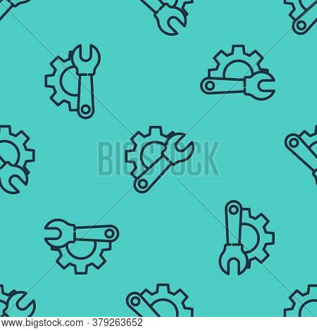Black Line Wrench Spanner And Gear Icon Isolated Seamless Pattern On Green Background. Adjusting, Se