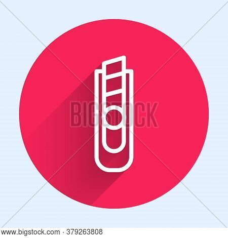 White Line Stationery Knife Icon Isolated With Long Shadow. Office Paper Cutter. Red Circle Button.