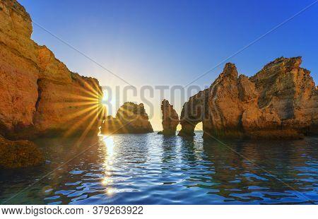 View Of Ponta Da Piedade At Sunrise, Algarve, Portugal