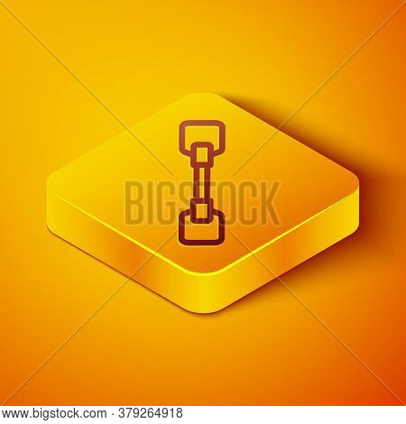 Isometric Line Paddle Icon Isolated On Orange Background. Paddle Boat Oars. Yellow Square Button. Ve
