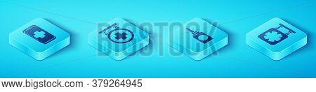 Set Isometric Emergency Mobile Phone Call To Hospital, Hospital Signboard, Medical Symbol Of The Eme
