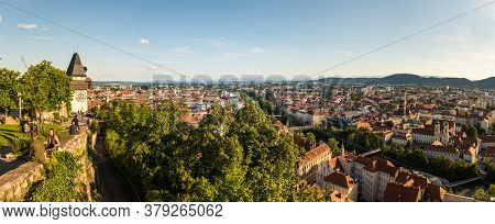 Graz, Austria - 13.07.2020: Panorama View From The Top Of Schlossberg Hill Over The City