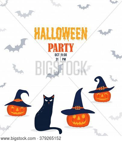 Halloween Invitation With Funny Pumpkin And Cat. Pumpkin In A Witch Hat With A Black Cat In Cartoon