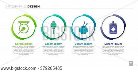 Set Gong, Chinese Paper Lantern, Asian Noodles In Bowl And Firework. Business Infographic Template.