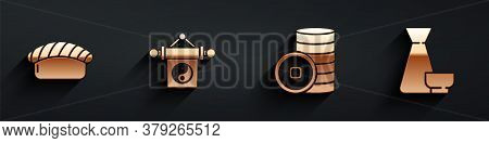 Set Sushi, Yin Yang, Chinese Yuan Currency And Chinese Tea Ceremony Icon With Long Shadow. Vector