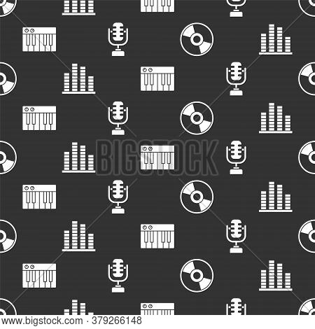 Set Cd Or Dvd Disk, Music Equalizer, Music Synthesizer And Microphone On Seamless Pattern. Vector