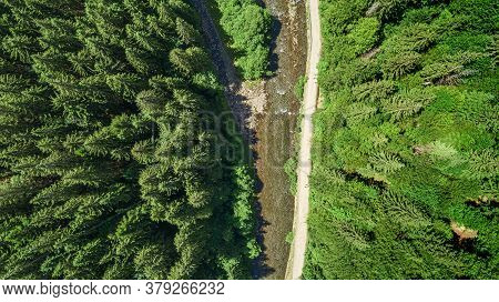 Forest And River From A Birds Eye View. Photo From The Drone. Carpathians.