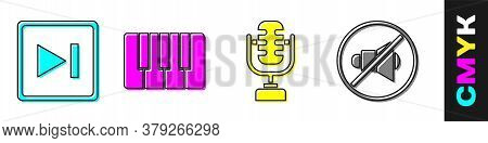 Set Fast Forward, Music Synthesizer, Microphone And Speaker Mute Icon. Vector