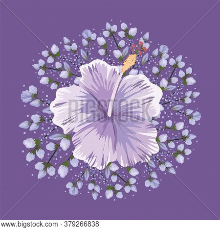 Purple Hawaiian Flower Painting Design, Natural Floral Nature Plant Ornament Garden Decoration And B