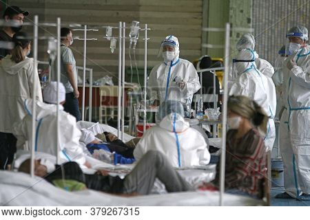 A Medical Professional Work In The Temporary Covid-19 Hospital Center In Bishkek, On July 5, 2020. T