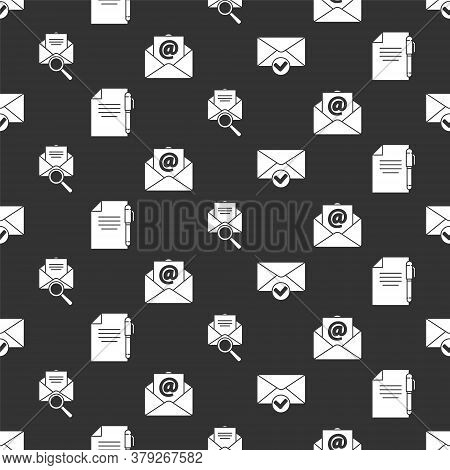 Set Envelope And Check Mark, Document And Pen, Envelope With Magnifying Glass And Mail And E-mail On