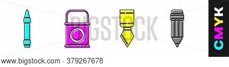 Set Wax Crayons For Drawing, Paint Bucket, Palette Knife And Pencil With Eraser Icon. Vector
