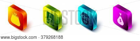Set Isometric Wallet, Casino Dealer, Poker Player And Money Bag Icon. Vector