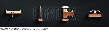 Set Broken Pipe With Leaking Water, Mop, Industry Metallic Pipe And Industry Pipe And Valve Icon Wit
